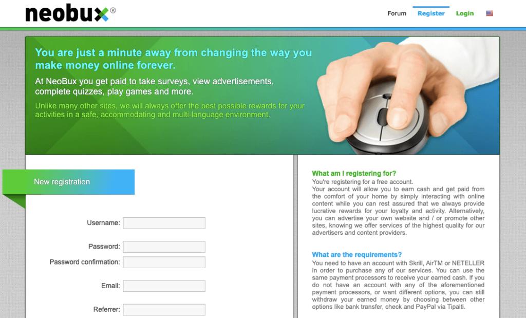 Neobux PTC website